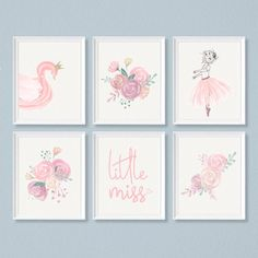 Flowers art girl etsy ideas for 2019 Floral Nursery, Nursery Prints, Nursery Wall Art, Girl Nursery, Ballerina Nursery, Baby Ballerina, Floral Watercolor, Art Floral, Peel And Stick Wallpaper