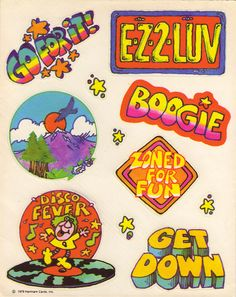 """1979 Hallmark Disco Stickers: I had these! Had forgotten sticker collecting & trading was a """"thing"""" in grade 5."""