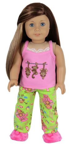 American Girl Doll Clothes - Silly Monkey - Lime and Pink Monkey Pajamas, $15.00 (http://www.silly-monkey.com/products/lime-and-pink-monkey-pajamas.html)