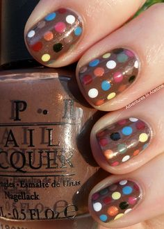 Dots nail art based on some Toms shoes. OPI's Wooden Shoe Like to Know is the background color