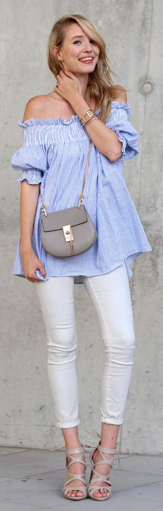 Ooh Couture Beige And Blue Summer Outfit Idea
