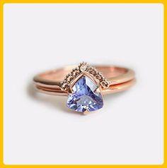 Rose Gold Engagement Ring, Tanzanite Engagement Ring, Tanzanite Wedding Ring Set, Tanzanite Ring with Diamond Lace Band, Rose Gold Set - Wedding and engagement rings (*Amazon Partner-Link)