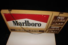 1974 Marlboro Plastic Cigarette Sign Price Changing Display Gulf Gas Station