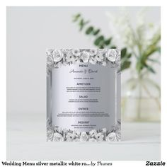 Shop Wedding Menu silver metallic white roses elegant created by Thunes. Wedding Menu Cards, Wedding Table Settings, Silver Roses, White Roses, Vintage Logo Design, Glamorous Wedding, Day Up, Vintage Flowers, Colorful Backgrounds