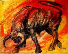 AMERICO HUME / Obra de arte: toro furioso Artistas y arte. Artistas de la tierra