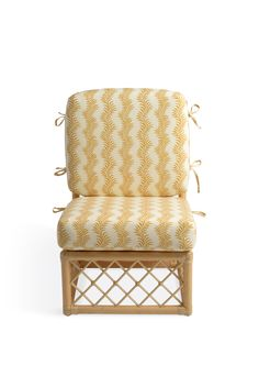 Soane Britain's Rattan Lily Slipper Chair with cushions upholstered in Scrolling Fern Silhouette - Ochre - Ivory Linen Chair Parts, Armless Chair, Fern, Slipper, Rattan, Accent Chairs, Hand Weaving, Upholstery, Ivory