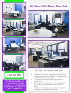 Located one block from Penn Station, this open-plan office offers a fully-equipped kitchen, private restrooms, a conference room and a rest area. The space is flooded with natural light and has a modern feel.  The center offers 4 desks in the open, shared area which is also used by an educational technology startup. The team is multinational and consists of engineers, marketing and education professionals. It also offers a private office for a team of 4 people - well lit, air conditioned.