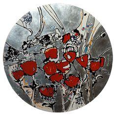 Ignacio Klindworth. #Flores rojas sobre plata. Obra sobre papel y técnica mixta 30x30.  Madrid 2006. www.ignacioklindworth.es