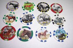 SET OF THE 12 TRIPLE CROWN HORSE RACING COLLECTOR  CHIPS  FROM 1919-2015