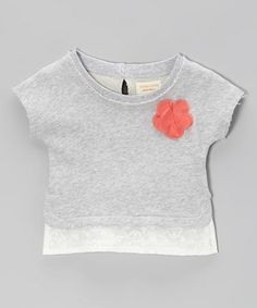 Loving this Heather Gray Rosette Lace-Trim Sweatshirt - Girls on #zulily! #zulilyfinds