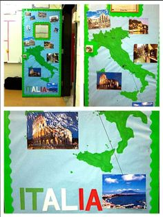 Knowledge Around The World hallway theme! Europe: traced and then painted Italy onto bulletin board paper, then printed pictures of major cities and labeled the map and the pictures :) hall mates were jealous so now I'm doing all of the doors
