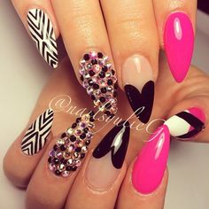 Pink and Black Diamond Almond Stiletto Nails @nailsyulieg Instagram photos | Webstagram