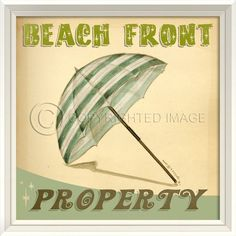 Beach Front Property Wall Art Sign.