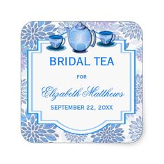 Hot pink damask bridal shower invitation stickers pink damask and blue floral teacup teapot bridal shower tea square sticker filmwisefo Gallery