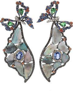WENDY YUE Opal Butterfly Wing Earrings