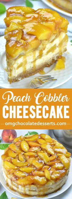 southern recipes Peach Cobbler Cheesecake is the most amazing combo or soft and creamy New York Style Cheesecake and classic southern Peach Cobbler, packed in one decadent dessert. Just imagine cheesecake topped with peach cobbler! New York Cheesecake Rezept, New York Style Cheesecake, Cheesecake Desserts, Peach Cobbler Cheesecake Recipe, Peach Cobbler Recipe Frozen Peaches, Peach Cobbler Recipes, Peach Cobbler Cake, Simple Cheesecake, Cheesecake Toppings