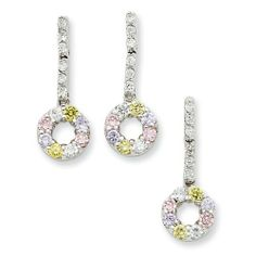 Sterling Silver Yellow & Pink CZ Earrings & Pendant Set West Coast Jewelry. $74.95. Save 25% Off!