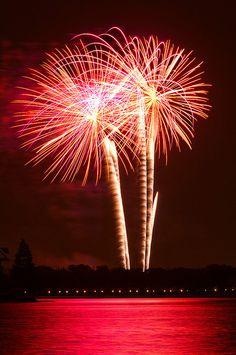 Fireworks over over lake at Walt Disney World