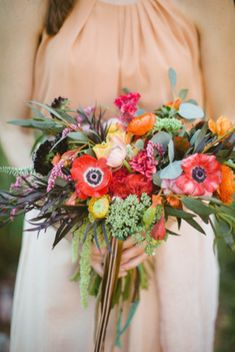 Bridal Bouquet with Red Poppies | http://burnettsboards.com/2013/11/red-poppies/