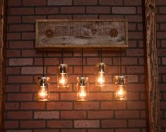 Mason Jar Chandelier With Reclaimed Wood and by Bornagainwoodworks
