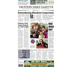 The front page of the Taunton Daily Gazette for Monday, May 25, 2015.