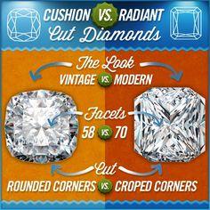 Radiant vs Cushion image Cushion Diamond, Cushion Ring, Cushion Cut Diamonds, Cushion Cut Engagement, Engagement Ring Cuts, Solitaire Engagement, Solitaire Rings, Radiant Cut Diamond, Diamond Cuts