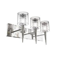 Bazz Lighting Topaz Three-Light Medium Vanity Light with Glass Crystals Chrome with Glass Crystals Indoor Lighting Bathroom Fixtures Vanity Hallway Lighting, Barn Lighting, Bedroom Lighting, Wall Sconce Lighting, Wall Sconces, Lighting Ideas, Bathroom Light Fixtures, Wall Fixtures, Bathroom Vanity Lighting