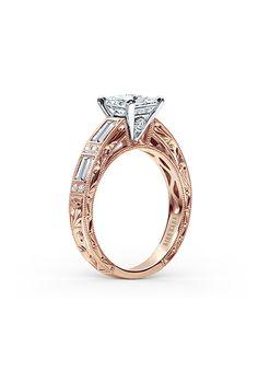 Brides: Kirk Kara. Style SS6685D-RR, Charlotte collection 0.55 carat engagement ring with scroll hand engravings, milgrain edging, peek-a-boo diamonds and a 1 carat center stone, $5,340, Kirk Kara                                                                                                                                    Photo:  Courtesy of Kirk Kara…