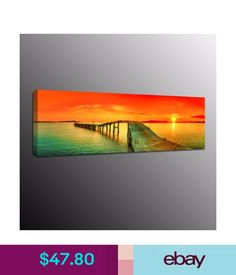 Posters & Prints Modern Canvas Prints Painting Picture Wall Art Bridge Red Clouds Home Decor #ebay #Home & Garden
