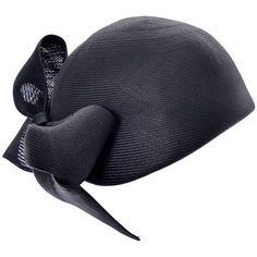 1960s Adolfo Saks Fifth Avenue Navy Blue Straw Brimless Hat Bow | From a collection of rare vintage hats at https://www.1stdibs.com/fashion/accessories/hats/