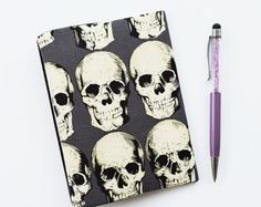 A6 Hobonichi Techo Cover skull print. A6 Planner cover. A6 Notebook cover. Book jacket.