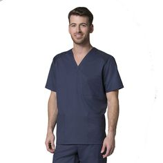 Maevn Uniforms mock wrap top (1026) in ceil blue with navy trim ...