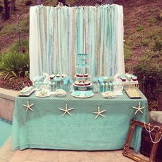 Gorgeous dessert table at an under the sea birthday party! See more party planning ideas at CatchMyParty.com!