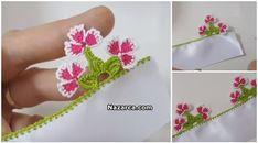 3 Çiçekli 3 Yapraklı Örnekten oluşan Üçler Tığ Oyası Çevreli Çiçek tekniği Yazma Modelleri,Havlu kenarı Tığ Oyası Modeli olarak Türkçe Videolu Oya Anlatımı. Bu örneğin Çiçek Motifleri geçen gün paylaştığım Çevreli Çiçek Oya Modeli ile benziyor. Modeller benzer ancak farklı isteyen diğer anlatıma da bakabilir. tig-oyasi-ucler-yazma-oya-yapilisi 22 Numara Tığ ve 3 Renkli Üçler Oya Modeli zıt renkli olduğunda Çiçekler çok daha belirgin ve güzel görünüyor.Üstte linkini verdiğim Çevreli Çiçek Oya… Jewelry, Diy And Crafts, Needle Lace, Flowers, Jewlery, Jewels, Jewerly, Jewelery, Accessories