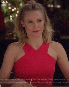 Eleanor's red v-neck dress on The Good Place