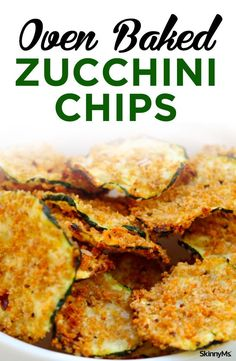 This wildly popular Oven Baked Zucchini Chips are a great appetizer recipe for entertaining. They always disappear fast! | healthy appetizer recipes | appetizer ideas | https://skinnyms.com/oven-baked-zucchini-chips/#ovenbaked #healthyrecipes #zucchinirec