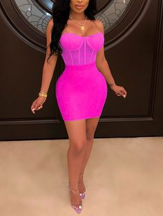 Stripper outfits - Rose Carmine Patchwork Grenadine Off Shoulder Bodycon Party Mini Dress – Stripper outfits Pink Dress Outfits, Neon Outfits, Pink Party Dresses, Hot Pink Dresses, Hot Dress, Tight Dresses, Pretty Outfits, Sexy Dresses, Cute Outfits