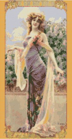 Cross stitch pattern Art Nouveau Portrait PDF - New EASY chart with one color per sheet And regular chart! Two charts in one! by HeritageCharts on Etsy