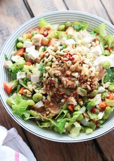 Chopped Thai Chicken Salad with Peanut-Chili Vinaigrette - just like Paneras Thai Chicken Salad but homemade and healthier | http://littlebroken.com @Katya | Little Broken