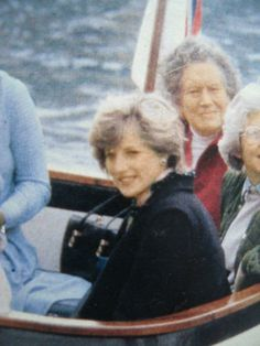 April 21, 1982: Princess Diana aboard a boat at St. Mary's en route to a luncheon at Tresco, Scilly Isles.