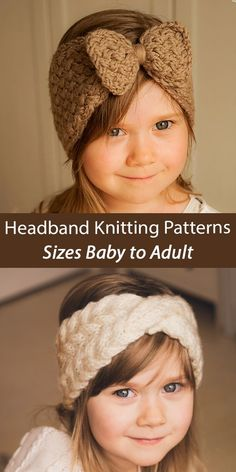Headbands Knitting Pattern Selma Baby, Toddler, Child Headbands designed by Mukicrafts including Selma in basket woven cable stitch with bow and Iverson cable headwrap with a twist. Sizes Selma: newborn/6m/toddler/child/adult. Iverson: toddler/child/adult. Aran weight yarn Knit Headband Pattern, Knitted Headband, Knitted Hats, Knit Crochet, Crochet Hats, Aran Weight Yarn, Fingering Yarn, Baby Fairy, Doll Head