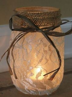Lace and burlap mason jar