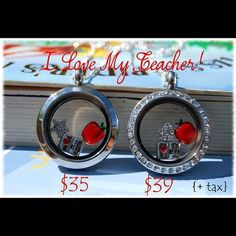 """Say """"Thank You"""" to a favorite teacher with Origami Owl! www.elizabethjenkins.origamiowl.com"""