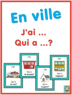 French in town. French version of the I have . This French game can be played to practice French town words. The game has 39 cards with a colorful frame and 39 cards with a simple black frame to save you ink. There are 4 cards per French Teaching Resources, Teaching French, French Language Learning, Learning Spanish, French Body Parts, Learn French Fast, French Numbers, French For Beginners, Colorful Frames