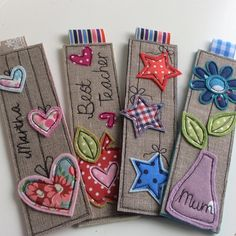 New Sewing Gifts For Friends Projects Ideas Homemade Bookmarks, Diy Bookmarks, Felt Bookmark, Bookmark Craft, Free Motion Embroidery, Free Machine Embroidery, Sewing Crafts, Sewing Projects, Diy Gifts For Friends