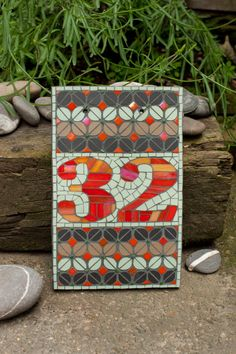 Mosaic house number Template 1 by janotoole on Etsy, £75.00