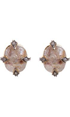 Cathy Waterman Rustic Diamond Stud Earrings