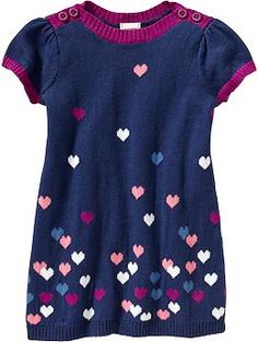 Heart-Patterned Sweater Dresses for Baby