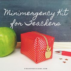 """Introducing the Minimergency® Kit for Teachers! This adorable red & gold polka-dot pouch contains 18 essentials for an A+ day, including a mini red pen and gold star stickers. But what really makes this kit the """"apple"""" of our eye is the charming apple zipper pull."""