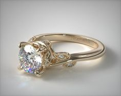 best cheap 48c45 8645f Nature Inspired Vintage Engagement Ring in 1.8mm 14K Yellow Gold (Setting  Price)